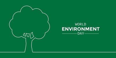 arbre de ligne simple de la journée mondiale de l'environnement vecteur