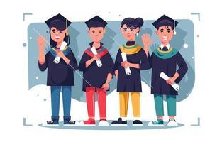 ensemble de personnages de jeunes célébrant la remise des diplômes vecteur