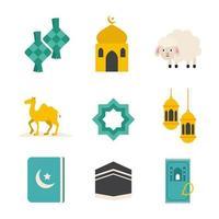 jeu d'icônes islamique eid al-adha vecteur