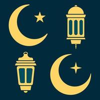 lanterne de ramadan, lune et étoiles en noir et blanc. vecteur