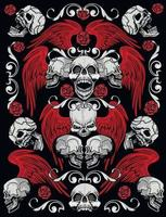 signe gothique avec crâne et ailes, t-shirts design vintage grunge vecteur