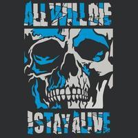 signe gothique avec crâne, design vintage grunge vecteur