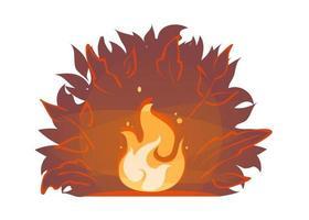 feu de forêt rouge sur fond de silhouette de brousse de nuit. illustration des incendies de forêt d'été. icône de feu de camp. brûler le vecteur de feu de joie. flammes de bois de chauffage, autocollant de dessin animé de cheminée. flamme vive avec des étincelles