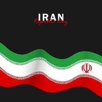 vecteur du jour de la république avec des drapeaux iraniens. célébration de la journée de la république iranienne.