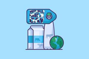 étiquette ou carte d'événement laitier mondial de la journée mondiale du lait vecteur