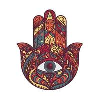 hamsa fatima main tradition amulette symbole coloré vecteur