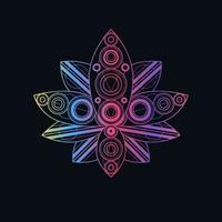 fleur de lotus avec illustration linéaire vectorielle motif géométrique vecteur