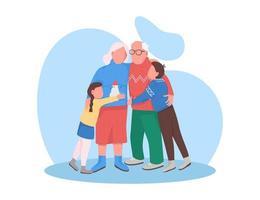 grands-parents avec petits-enfants à Noël vecteur