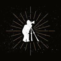 logo de silhouette de photographe rétro vecteur