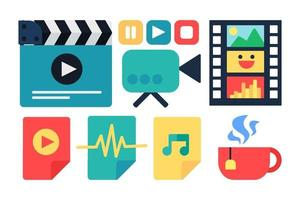 industrie du cinéma, jeu d & # 39; autocollants de vecteur de cinéma