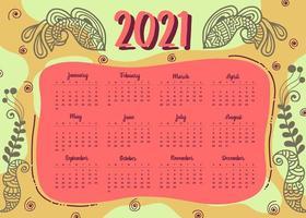 conception de calendrier de nouvel an de style moderne 2021 vecteur