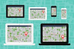 carte électronique hors ligne sur les appareils électroniques vecteur