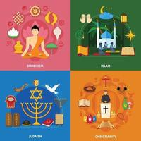 jeu d'icônes de religions vecteur