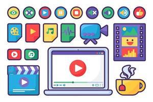 icônes et boutons de lecteur multimédia mis au design plat vecteur