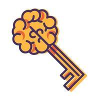 signe de cerveau clé isolé, icône de la pensée créative vecteur