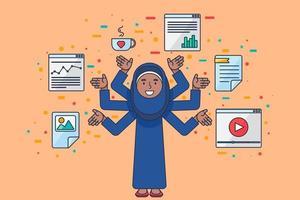 programmeur au travail coding spécialiste du référencement féminin arabe vecteur