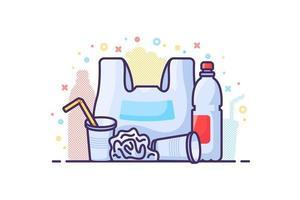 illustration de concept zéro déchet. poubelle de danger en plastique vecteur