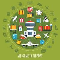 affiche publicitaire plate de service aéroportuaire vecteur