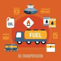illustration vectorielle de pompe à carburant composition colorée vecteur