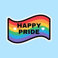 conception de signe de drapeau arc-en-ciel du mois de la fierté heureuse vecteur