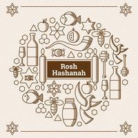 rosh hashanah éléments vecteur