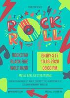 modèle d'affiche de vecteur rock and roll party