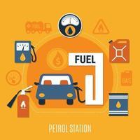 illustration vectorielle de pompe à carburant composition vecteur