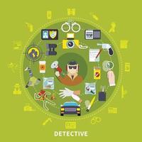 composition ronde détective vecteur