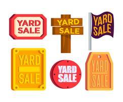 Yard vente signe vecteur Set