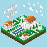 illustration vectorielle de villa romaine composition isométrique vecteur