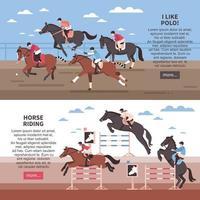équitation et polo bannières vector illustration