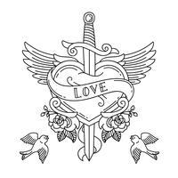 Tatouage de coeur avec des ailes et un couteau vecteur
