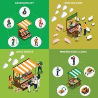 illustration vectorielle de concept de design épicerie verte locale vecteur