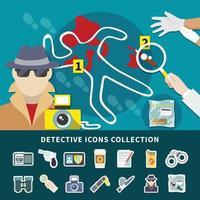 jeu d'icônes de détective vecteur