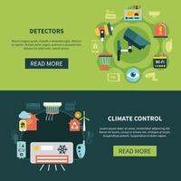 contrôle du climat et détecteurs bannières vector illustration
