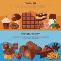 illustration vectorielle de bannières plates au chocolat vecteur