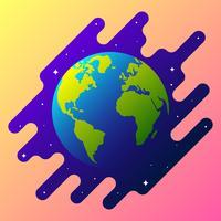 Globe terrestre sur l'illustration de l'espace vecteur