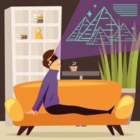 illustration vectorielle de pyramides réalité virtuelle composition orthogonale vecteur