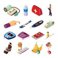 contrôle du diabète icônes isométriques vector illustration