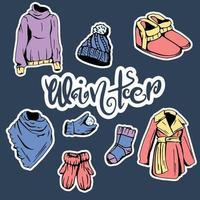 collection de vêtements d'hiver vecteur