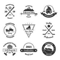 illustration vectorielle de sports d & # 39; hiver emblèmes monochromes vecteur