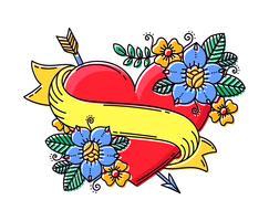 Coeur RetroTattoo Avec Ruban Et Fleur vecteur