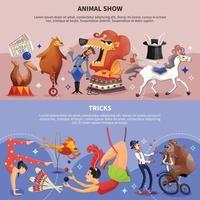 cirque dessin animé deux bannières mis illustration vectorielle vecteur