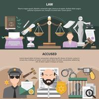 Bannières horizontales de condamnation légale vecteur