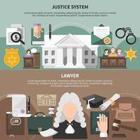 ensemble de bannières de système judiciaire vecteur