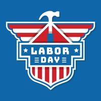 Badge de la fête du travail des USA vecteur