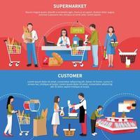 illustration vectorielle de supermarché bannières horizontales vecteur