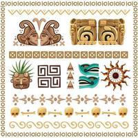 ornements et motifs mayas cartoon set vector illustration