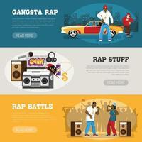 musique rap 3 bannières plates vector illustration