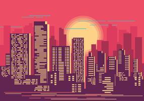 Paysage urbain au coucher du soleil Illustration vecteur
